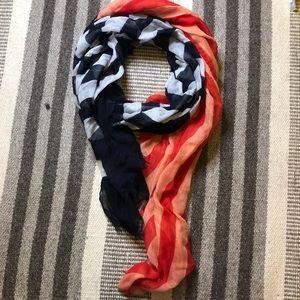 2/24- Smartset Black/red Striped Patterend Scarf